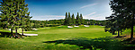 Gree golf course panoramic summer scenery. Huntsville, Muskoka, Ontario, Canada.