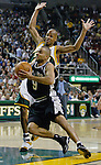 San Antonio Spurs guard Tony Parker of France (F) drives to the basket past Seattle SuperSonics Ray Allen in the second period of their Western Conference Semifinals Game 6 at Key Arena in Seattle, Washington on Thursday 19 May 2005.  . Jim Bryant Photo. &copy;2010. All Rights Reserved.