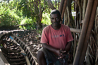 A boat maker, who still makes the traditional pirogue fishing craft with wooden hulls. On the island of Rodrigues.