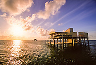 Stiltsville at sunrise, .Biscayne National Park, .Florida (Atlantic).