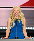 Tiffany Trump makes remarks at the 2016 Republican National Convention held at the Quicken Loans Arena in Cleveland, Ohio on Tuesday, July 19, 2016.<br /> Credit: Ron Sachs / CNP<br /> (RESTRICTION: NO New York or New Jersey Newspapers or newspapers within a 75 mile radius of New York City)