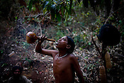 A young Dongria Kondh man consumes the local drink after a long day of hunting. Village Khambesi is the remotest of the villages and is closest to the mining site and will be directly affected by mining in Orrisa.