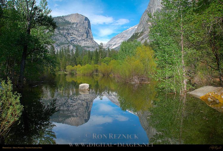 Mirror Lake and Mount Watkins in Spring, Yosemite National Park