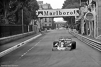 Jody Scheckter drives the Tyrrell P34 Formula 1 car during practice for the 1976 Monaco Grand Prix.