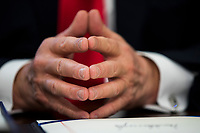 U.S. President Donald J. Trump prepares to sign the NASA transition authorization act in the Oval Office of the White House in Washington, DC, USA, 21 March 2017. The bill boosts NASA's budget, much of which will be directed to the pursuit of a Mars mission.<br /> Credit: Jim LoScalzo / Pool via CNP /MediaPunch