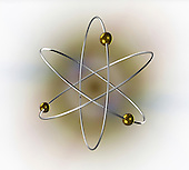 Conceptual illustration of an atom showing the electron orbitals