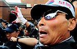 Right-wing Korean nationalists protest outside the Japanese embassy in Seoul during a demonstration against Japan's claim to the Dokdo islands. The disputed islands are called Takeshima in Japan.