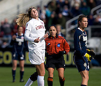 Courtney Verloo (5) of Stanford reacts to a shot that hit the post during the final of the NCAA Women's College Cup at WakeMed Soccer Park in Cary, NC.  Notre Dame defeated Stanford, 1-0.