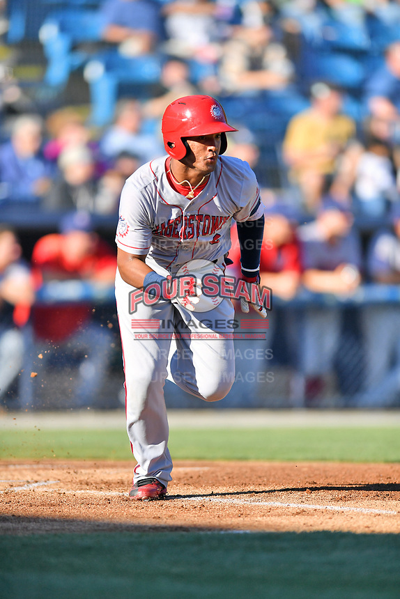 Hagerstown Suns third baseman Anderson Franco (6) runs to first base during a game against the  Asheville Tourists at McCormick Field on May 13, 2017 in Asheville, North Carolina. The Suns defeated the Tourists 9-5. (Tony Farlow/Four Seam Images)