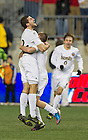 Dec 15, 2013; The Notre Dame defender Andrew O'Malley and midfielder Connor Klekota celebrate after Notre Dame defeated Maryland 2-1 in the College Cup championship in Chester, Pa. Photo by Barbara Johnston/University Photographer