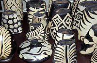 Lenca pottery in the Guamilito market, San pedro Sula, Honduras. The Lenca form the largest indigenous group in Honduras. The designs on their ceramics date back to pre-Hispanic times.