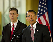 Chicago, Il - December 16, 2008 -- United States President-elect Barack Obama, center, announces the nomination of Chicago School Chief Arne Duncan, left, to be his Secretary of Education at a news conference at Dodge Renaissance Academy on Chicago's West Side on Tuesday, December 16, 2008. .Credit: Ralf-Finn Hestoft - Pool via CNP