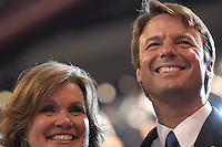 BOSTON, MA - July 29, 2004: Vice Presidential Nominee John Edwards and his wife Elizabeth Edwards on stage after  Democratic Presidential Nominee John Kerry's speech.