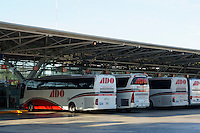 ADO buses at the Cancun  bus station at Avenida Tulum and Avenida Uxmal in downtown Cancun< Quintana Roo, Mexico .