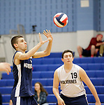 Oxford, CT- 21 April 2017-042117CM08-  Oxford's Thomas Mattutini sets up for the ball as teammate Jake Suttile looks on during their volleyball matchup against Shelton in Oxford on Friday.       Christopher Massa Republican-American
