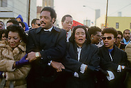 Atlanta, Georgia, U.S.A, 15 January, 1987. The 58th birthday memorial of Martin Luther King. In the middle from left to right: Christine King Farris, Revend Jesse Jackson,  Coretta King, Bernice King.