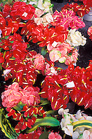 Anthuriums and vanda orchids at the Hilo open market