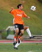 Chris Klotz of the Charlotte Eagles heads the ball.  The Charlotte Eagles currently in 3rd place in the USL second division play a friendly against the Bolton Wanderers from the English Premier League.