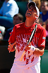 06.04.2012 Oropesa, Spain. 1/4 Final Davis Cup. Andreas Haider-Mauder reacts during second match of 1/4 final game of Davis Cup played at Oropesa town.