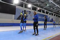 SCHAATSEN: SALT LAKE CITY: Utah Olympic Oval, 13-11-2013, Essent ISU World Cup, training, Frank Hermans (NED), Bram Smallenbroek (AUT), Peter Mueller (trainer/coach Team CBA), ©foto Martin de Jong