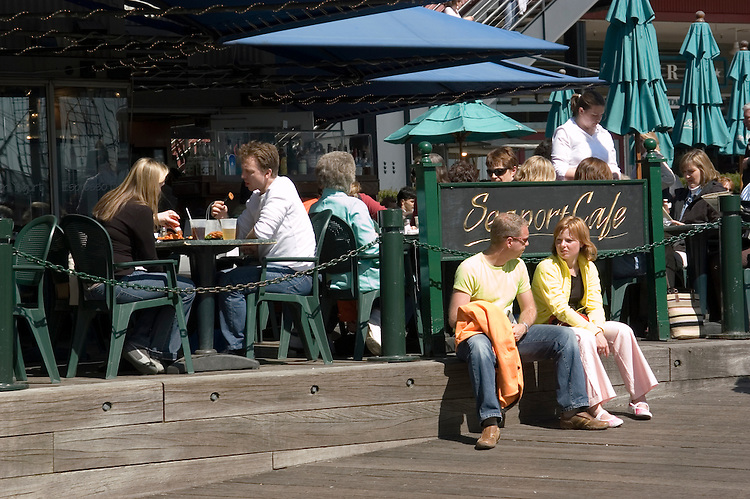 New York City, New York: Dining at South Street Seaport  .Photo #: ny249-14679  .Photo copyright Lee Foster, www.fostertravel.com, lee@fostertravel.com, 510-549-2202.