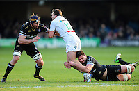 Pierre Dupouy of Pau is tackled by Elliott Stooke of Bath Rugby. European Rugby Challenge Cup match, between Bath Rugby and Pau (Section Paloise) on January 21, 2017 at the Recreation Ground in Bath, England. Photo by: Patrick Khachfe / Onside Images