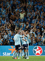 Sydney FC players celebrate a goal against Wanderers during their A-League match in Sydney, March 8, 2014. VIEWPRESS/Daniel Munoz EDITORIAL USE ONLY