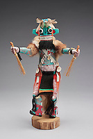 Sakwa Hu katsina, made by Tom Callateta, Hopi artist, in the 1980s, from wood, paint, fur, shells, cloth and feather, from the Elizabeth P Landry Collection, in the Denver Art Museum, Denver, Colorado, USA. Hopi katsina figures or kachina dolls are figures carved, typically from cottonwood root, by Hopi people to teach girls about katsinas or katsinam, the immortal beings that bring rain and act as messengers between humans and the spirits. Sakwa Hu is a guard, often seen carrying whips. The Hopi tribe live in North East Arizona and have been making these katsina figures since the 19th century. Picture by Manuel Cohen