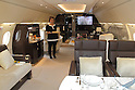 March 30, 2012, Narita, Japan - Interior of Airbus ACJ318 business jet at Narita International Airport on March 30, 2012. (Photo by Motoo Naka/AFLO) [4018]