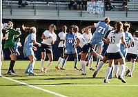 SAN DIEGO, CA - DECEMBER 02, 2012:  Hanna Gardner (71) of the University of North Carolina beats Erin McNulty (00) of Penn State University for the second goal during the NCAA 2012 women's college championship match, at Torero Stadium, in San Diego, CA, on Sunday, December 02 2012. Carolina won 4-1.