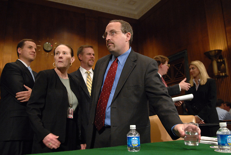"""Bradley Schlozman, associate counsel to the director of the Executive Office for United States Attorneys, prepares to testify before a Senate Judiciary Committee hearing entitled """"Preserving Prosecutorial Independence: Is the.Department of Justice Politicizing the Hiring and Firing of U.S. Attorneys?.- Part V."""""""