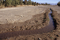 Near Skoura, Morocco - Irrigation Channel in Dry River Bed, Kasbah Ameridhil in Background.  This area has had greatly reduced rain during the preceding eight years.  Atlas Mountains in Far Distance.