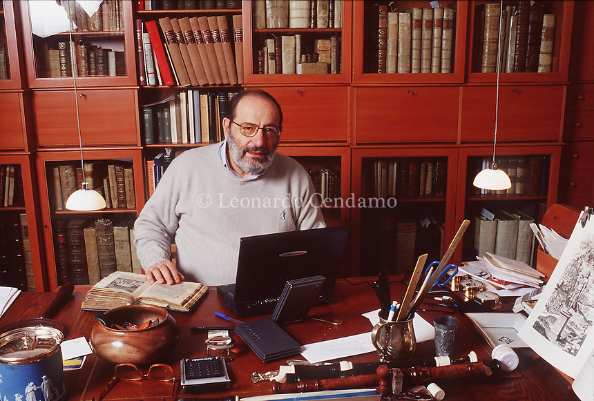 Milan, Italy, January, 2000. Umberto Eco, renowned Italian semiotician, philosopher, linguist, bibliophile, novelist, essayist and Professor. Mr Eco becomes very popular on the world literary scene with his books 'In the name of the rose' ('In nome della rosa').