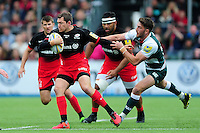 Alex Goode of Saracens looks to get past Owen Williams of Leicester Tigers. Aviva Premiership semi final, between Saracens and Leicester Tigers on May 21, 2016 at Allianz Park in London, England. Photo by: Patrick Khachfe / JMP