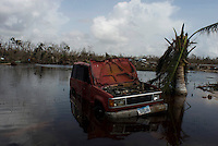 Quintana Roo, Mexico. Thursday, August 23, 2007. The Mahahual militaty base was flatened by Hurricane Dean. The town of Mahahual was where category 5 Hurricane Dean first made landfall in Mexico, with winds of 300km/h it was where most of the damage was suffered.