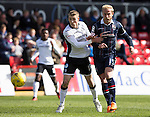 Ross County v St Johnstone&hellip;..30.04.16  Global Energy Stadium, Dingwall<br />David Wotherspoon and Andrew Davies<br />Picture by Graeme Hart.<br />Copyright Perthshire Picture Agency<br />Tel: 01738 623350  Mobile: 07990 594431