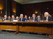 From left to right: former US Secretary of Defense Robert Gates, former US Senator Sam Nunn (Democrat of Georgia), Rex Wayne Tillerson, former chairman and chief executive officer of ExxonMobil, US Senator Ted Cruz (Republican of Texas) and US Senator John Cornyn (Republican of Texas) appear before the US Senate Committee on Foreign Relations as they consider the nomination of Tillerson to be Secretary of State of the US on Capitol Hill in Washington, DC on Wednesday, January 11, 2017.<br /> Credit: Ron Sachs / CNP