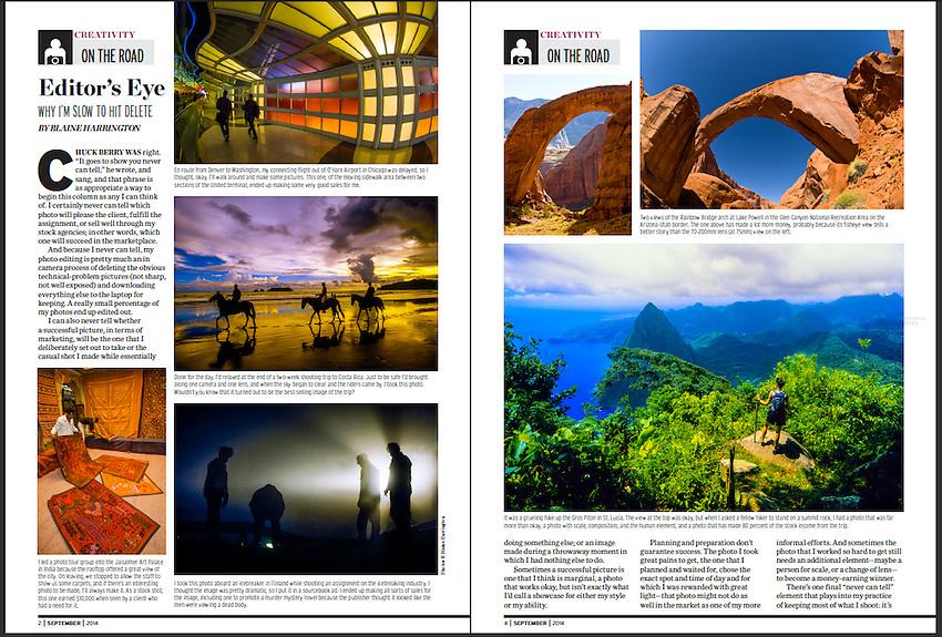 Blaine Harrington's On the Road Column in Shutterbug Magazine, September 2014.