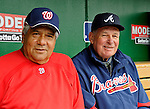 13 April 2008: Atlanta Braves' Manager Bobby Cox (right) poses with Washington Nationals' bench coach Pat Corrales (left) prior to a game between the two teams at Nationals Park, in Washington, DC. Corrales was bench coach for nine years with the Braves and Cox prior to his job in Washington. The Nationals ended their 9-game losing streak by defeating the Braves 5-4 in the last game of their 3-game series...Mandatory Photo Credit: Ed Wolfstein Photo