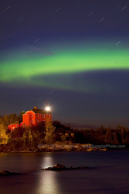 Marquette Lighthouse with startrails and aurora lighthouses in the Upper Peninsula of Michigan