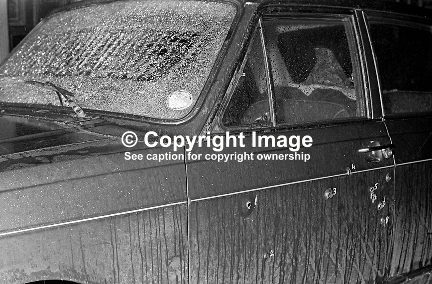 The exterior of the car with shattered windscreen &amp; bullet holes, in which John D Taylor, MP, Ulster Unionist, junior Home Affairs minister, in the N Ireland Parliament, was travelling when he was the target of an Official IRA assasination atttempt 25th February 1972. His car was raked with bullets by two gunmen, one of whom was Joe McCann, who was shot dead some months later by the British Army whilst trying to evade arrest. Taylor, who was hit 5 times in the head survived but required extensive reconstructive surgery. He later became an MEP and was created a life peer, Lord Kilclooney, in July 2001. 197202250071b<br /> <br /> Copyright Image from Victor Patterson, 54 Dorchester Park, Belfast, UK, BT9 6RJ<br /> <br /> t1: +44 28 9066 1296<br /> t2: +44 28 9002 2446<br /> m: +44 7802 353836<br /> <br /> e1: victorpatterson@me.com<br /> e2: victorpatterson@gmail.com<br /> <br /> www.victorpatterson.com<br /> <br /> IMPORTANT: Please see my Terms and Conditions of Use at www.victorpatterson.com