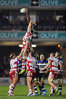 Levi Douglas of Bath Rugby rises high to win lineout ball. Anglo-Welsh Cup match, between Bath Rugby and Gloucester Rugby on January 27, 2017 at the Recreation Ground in Bath, England. Photo by: Patrick Khachfe / Onside Images