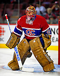 4 December 2008: Montreal Canadiens' goaltender Jaroslav Halak from the Slovak Republic warms up prior to facing the New York Rangers for their first meeting of the season at the Bell Centre in Montreal, Quebec, Canada. The Canadiens, celebrating their 100th season, played in the circa 1915-1916 uniforms for the evenings' Original Six matchup. *****Editorial Use Only*****..Mandatory Photo Credit: Ed Wolfstein Photo