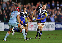 Dominic Day looks to pass the ball. Aviva Premiership match, between Bath Rugby and Northampton Saints on September 14, 2012 at the Recreation Ground in Bath, England. Photo by: Patrick Khachfe / Onside Images