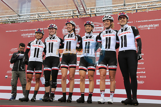 Team Sunweb at sign on before the start of the Ladies 2017 Strade Bianche running 127km from Siena to Siena, Tuscany, Italy 4th March 2017.<br /> Picture: Eoin Clarke   Newsfile<br /> <br /> <br /> All photos usage must carry mandatory copyright credit (&copy; Newsfile   Eoin Clarke)