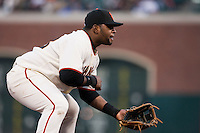 17 April 2009: San Francisco Giants' third base Pablo Sandoval is seen on defense during the San Francisco Giants' 2-0 win against the Arizona Diamondbacks at AT&T Park in San Francisco, CA.