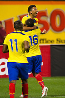Jefferson Montero (9) of Ecuador celebrates scoring with Antonio Valencia (16). Ecuador defeated Chile 3-0 during an international friendly at Citi Field in Flushing, NY, on August 15, 2012.