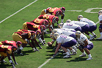 7 October 2006: USC Trojans defensive line faces off against the WA offense. View from above.  NCAA College Football Pac-10 USC Trojans 26-6 win over the Washington Huskies at the LA Coliseum during a sunny saturday game in Los Angeles, CA.<br />