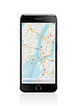 Apple iPhone 7 Plus with Apple Maps GPS navigation map showing New York City downtown on its display isolated on white background with clipping path