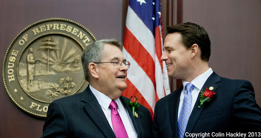 TALLAHASSEE, FLA. 3/5/13-OPENING030513CH-Senate President Don Gaetz, R-Niceville, left, talks with Speaker of the House Will Weatherford, R-Wesley Chapel, during the opening day of the 2013 legislative session Tuesday at the Capitol in Tallahassee, Fla...COLIN HACKLEY PHOTO